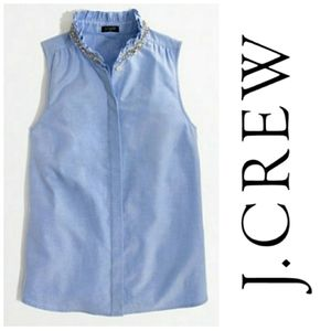 J.Crew Chambray Blouse With Rinestone Neck Detail